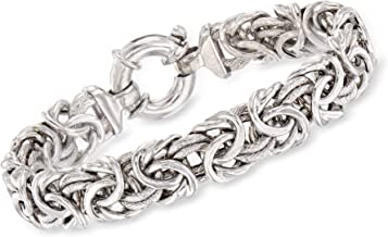 Ross-Simons Italian Sterling Silver Textured and Polished Byzantine Bracelet For Women 7, 8 Inch 925 Made in Italy