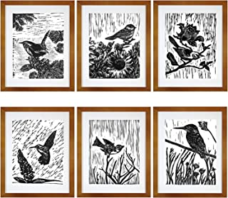 7eGrace Vintage Dictionary Art Prints Paintings Black and White Animals Bohemian Bird Woodcut Wall Art Handmade Poster for Home Decor 8''X10'' Unframed Set of 6
