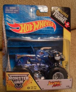Jurassic Attack with Edge Glow Roll Cage Monster Jam includes Monster Jam Figure (Blue Dinosaur) Off-Road Hot Wheels Monster Truck 1:64 Scale #35