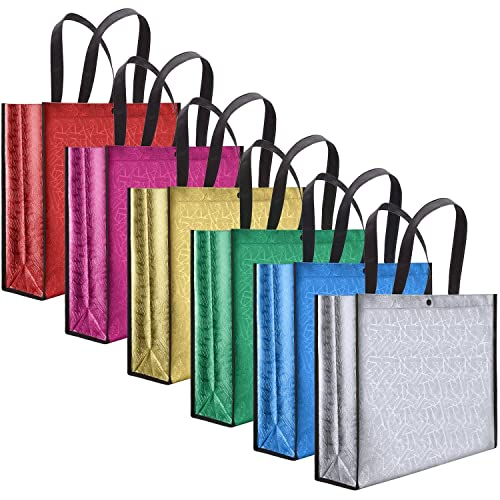 6 Pieces Multicolor Non Woven Shopping Bag Large Reusable Grocery Gift Shiny Christmas Waterproof