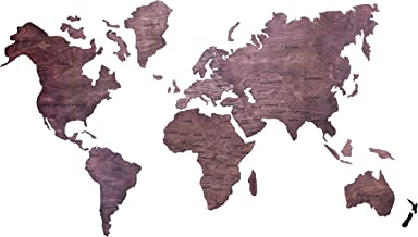 Enjoy The Wood World Map Large Travel Wall Wedding Gift for Couple Rustic Home Decor Office Decor Dorm Living Room Housewarming (XL)