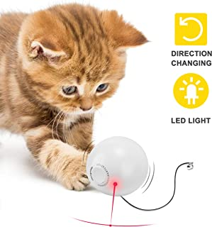 HomeRunPet Cat Toy Ball Smart Interactive 360 Degree Self Rotating Cat Toy with Bell, Built-in Eye-Protection LED Pet Toy, Improve Intelligence and Flexibility for Kitten (Batteries Included)