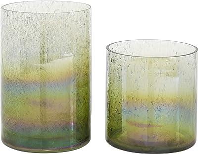 "Deco 79 ""Set of 2 Green Glass Coastal Vase, 5.25"""", 7.5"""""", Small"