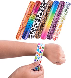 Super Z Outlet Slap On Plastic Vinyl Retro Bracelets with Colorful Hearts & Animal Print Design Patterns for Children, Toy Party Favors (72 Pack)
