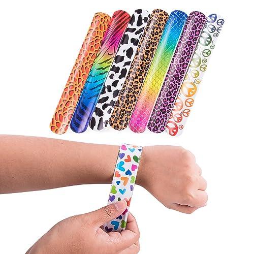 e543f68a28 Super Z Outlet Slap On Plastic Vinyl Retro Bracelets with Colorful Hearts    Animal Print Design