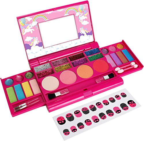 popular Makeup Kit for Little Girl, Kids Makeup, Real Washable Palette Makeup Set, Fold Out Cosmetic Kit Toy online with Mirror for 4 5 6 7 8 Years Old Girls Birthday wholesale Gifts online sale