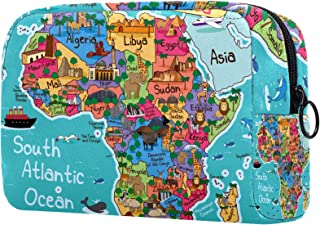 Makeup Bag for Women Travel Cosmetic Organizer Cartoon Africa Map Toiletry Bags with Zipper