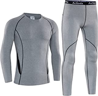 Acfoda Men's Thermal Underwear Set Long Sleeve Top & Bottoms Winter Warm Base Layer for Running Cycling Hiking Skiing Work...