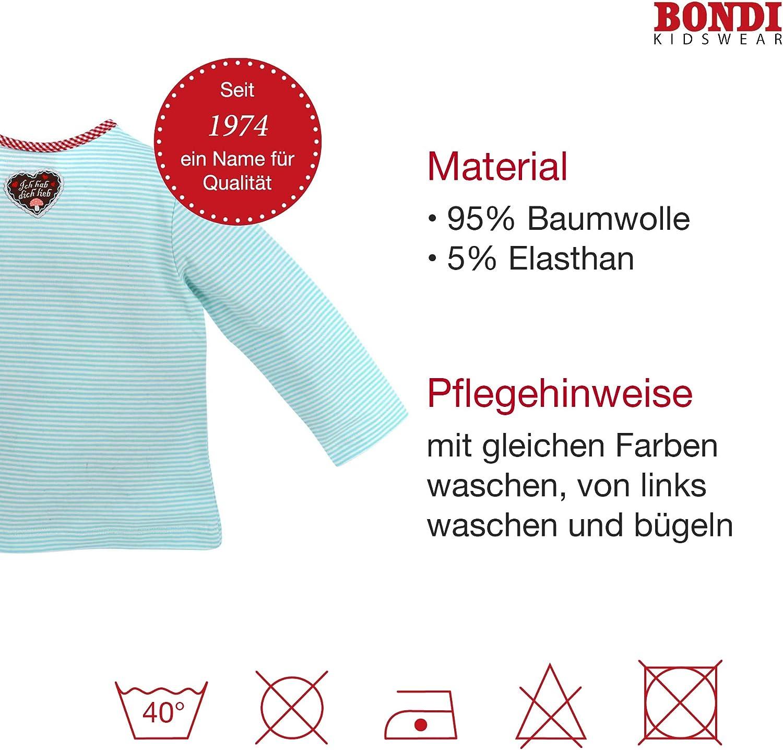 """BONDI Baby-Shirt /""""Hirsch/"""" aus Baumwolle I Sch/önes M/ädchen-Shirt in Blau-Wei/ß I T-Shirt M/ädchen lang/ärmlig I Bequemes T-Shirt aus Baumwolle I Wundersch/öne /& Bequeme Kinderbekleidung"""
