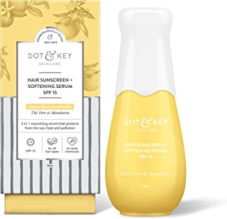 Dot & Key Sunscreen + Softening Hair Serum SPF 15, Sun Protecting Anti Hair Fall Hair Serum for Frizz Control and Shine - Paraben Free