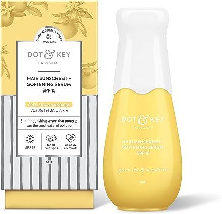 Dot & Key Sunscreen + Softening Hair Serum SPF 15, Sun Protecting Anti Hair Fall Hair Serum for Frizz Control and Shine - Paraben Free