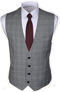 Ruth&Boaz メンズ ビジネス スーツ 3ポケット 4ボタン グレンチェック ベスト (S~XXXL)