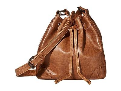 Frye Melissa Drawstring Bucket Crossbody (Beige) Handbags