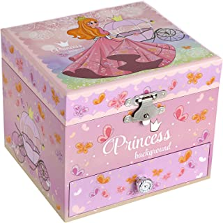 SONGMICS Boîte à Bijoux Musicale avec Ballerine pour Enfants, Motifs élégants de Princesse et de Papillons, mélodie Somewh...
