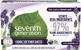 Seventh Generation Fabric Softener Sheets, Lavender, 80-Count (Pack of 2) Packaging May Vary