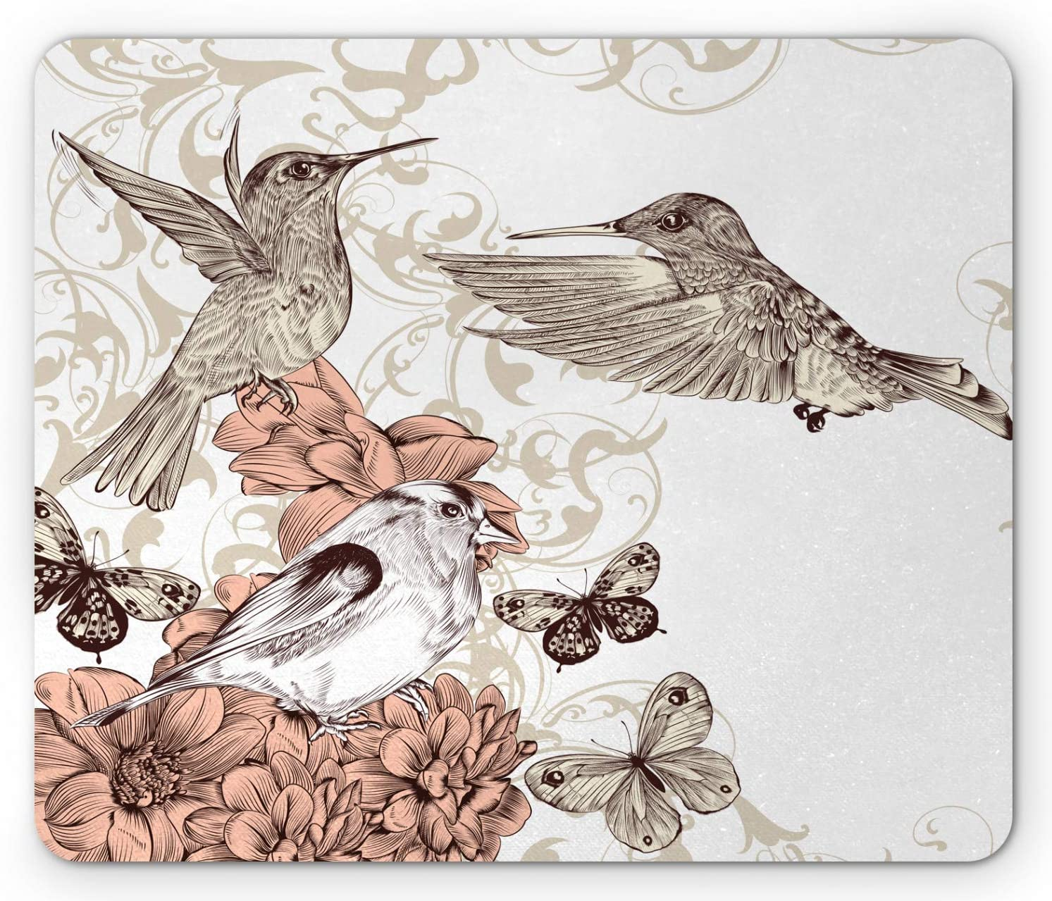 Ambesonne Hummingbird Mouse Pad Ranking TOP14 Vintage Artwork with Style Bird Bombing new work