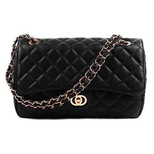 10fedce76c59fd Aossta Womens Large Faux Leather Quilted Twist Lock Shoulder Bag