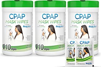 RespLabs CPAP Mask Wipes, 3X 110 Pack Bottle - Unscented and Lint-Free. Includes 2 CPAP Travel Wipes and CPAP Comfort Hack...