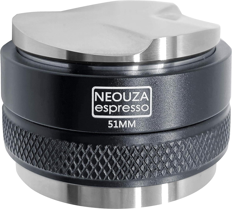 NEOUZA Distribuidor de café de 51mm y sabotaje 2 en 1,nivelador de espresso de doble cabezal para portafiltros Delonghi Breville de 51mm,profundidad ajustable