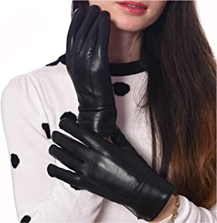 DEBRA WEITZNER Womens Leather Gloves Gift Box Black Warm Driving Gloves Thinsulate Lined