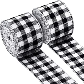 2 Rolls Burlap Wired Ribbon Weave Ribbon with Wired Edge for Christmas Crafts Floral Bows Craft Decoration (Gingham Plaid, 2.4 Inches by 315 Inches)