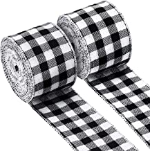 2 Rolls Buffalo Plaid Burlap Wired Ribbon Weave Ribbon with Wired Edge for Christmas Crafts Floral Bows Craft Decoration, ...