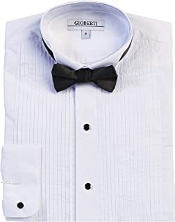 Boy's Wing Tip Collar White Tuxedo Dress Shirt with Bow Tie and Metal Studs