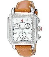 Michele - Deco Diamond, Diamond Dial Saddle Strap Watch