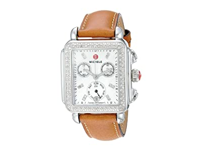 Michele Deco Diamond, Diamond Dial Saddle Strap Watch (Saddle/Silver) Watches