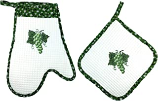 THE JOY TREE Embroidered Grapes Oven Mitt + Pot Holder Set of 2