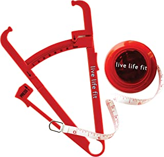 Fitlosophy Red Body Fat Calipers and Tape Measurer BMI Calculator Set
