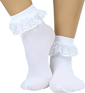 Fabric 1-Pair Fabulous 50s Costume Party Sock Hop Socks White