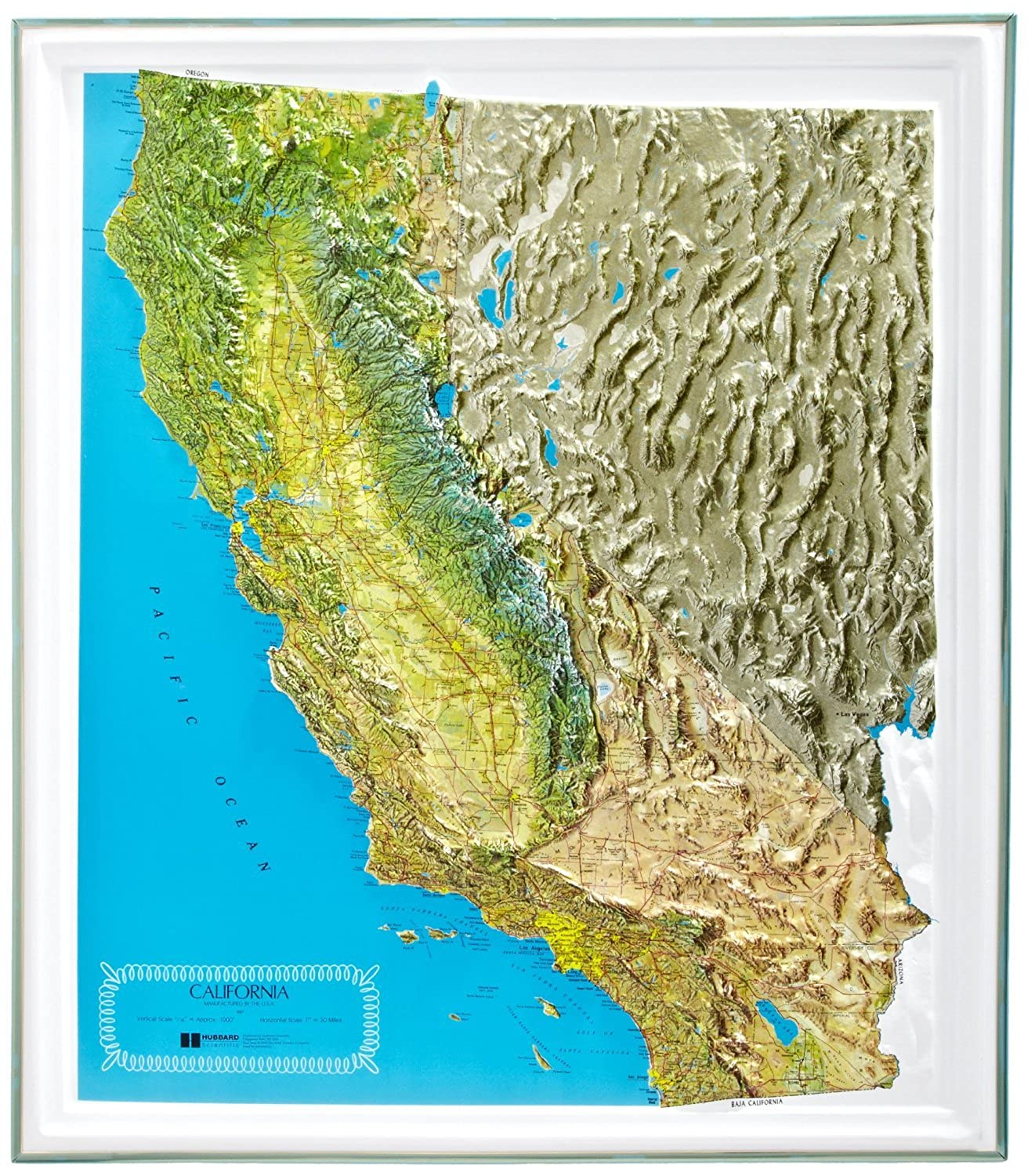 American Educational California NCR Series Map with Gold Plastic Frame, 25-1/2' Length x 22-1/2' Width [並行輸入品]