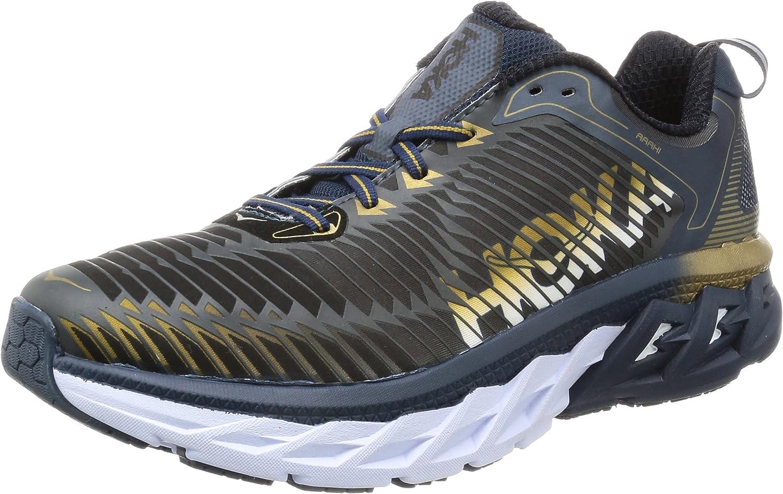 Hoka ONE ONE Mens Arahi Midnight Navy Metallic gold Running shoes - 8 M