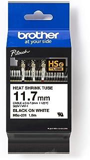 Brother HSE-231 Heat Shrink Tube, 11.7mm, Black on White