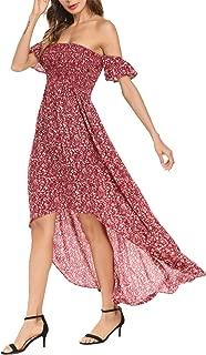 Women's Off Shoulder Floral Print Chiffon Maxi Beach Casual Dresses Wedding Party Dress