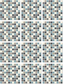Panorama Stickers Carrelage Adhésif Cuisine Salle de Bain 48 Pièces de 15x15cm Carrés Bleu - Autocollant adhésif en Vinyle...
