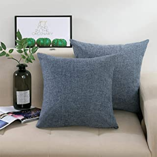 KADISHA Decorative Throw Pillow Covers Solid Linen Square Accent Pillow Cases 18x18 Inch Cushion Covers for Couch Sofa Bed,Set of 2,Dark Grey