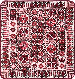 Turathna Cotton Maroon Handmade Cross Stitch Classic Cushion - 1 Piece