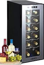 Mini réfrigérateur à vin 33 l 12 bouteilles avec porte en verre Éclairage LED