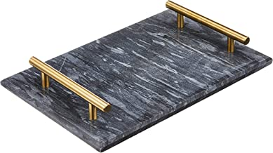 DARK GREY MARBLE TRAY WITH BRASS HANDLE