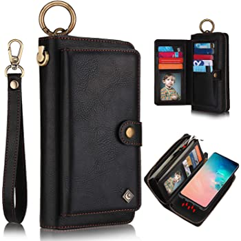 XRPow Galaxy S10 Case, [2 in 1] Magnetic Detachable S10 Wallet Case [Vegan Leather] Zipper Wallet Folio Flip Card Solt [Wrist Strap] Purse Protection Back Cover for Samsung Galaxy S10 - Black