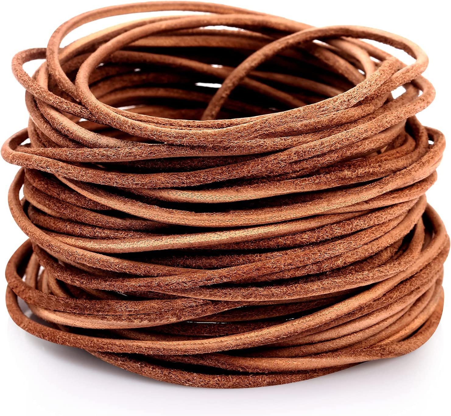 2MM Round Genuine Large-scale sale Leather Cord Laces Nature L Full Rawhide Grain