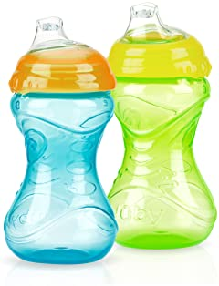 Nuby 2-Pack No-Spill Easy Grip Clik-It Cups, 10 Ounce, Colors May Vary