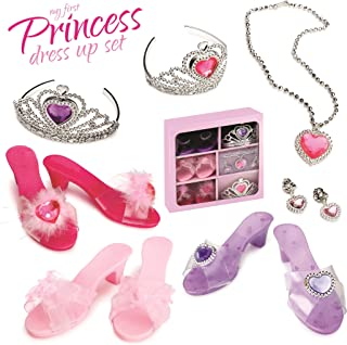 Dress Up America - My First Princess Fashion Accessory Girls Dress Up Set Includes 3 Pairs of Shoes, 2 Tairas, Earrings and Necklace