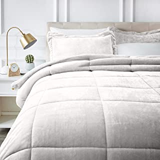AmazonBasics Ultra-Soft Micromink Sherpa Comforter Bed Set - Full or Queen, Cream