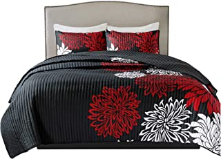 Comfort Spaces Enya 3 Piece Quilt Coverlet Bedspread Ultra Soft Floral Printed Pattern Bedding Set, King, Black-Red