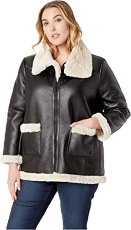 Plus Size Long Sleeve Pleather Shearling Trimmed Jacket