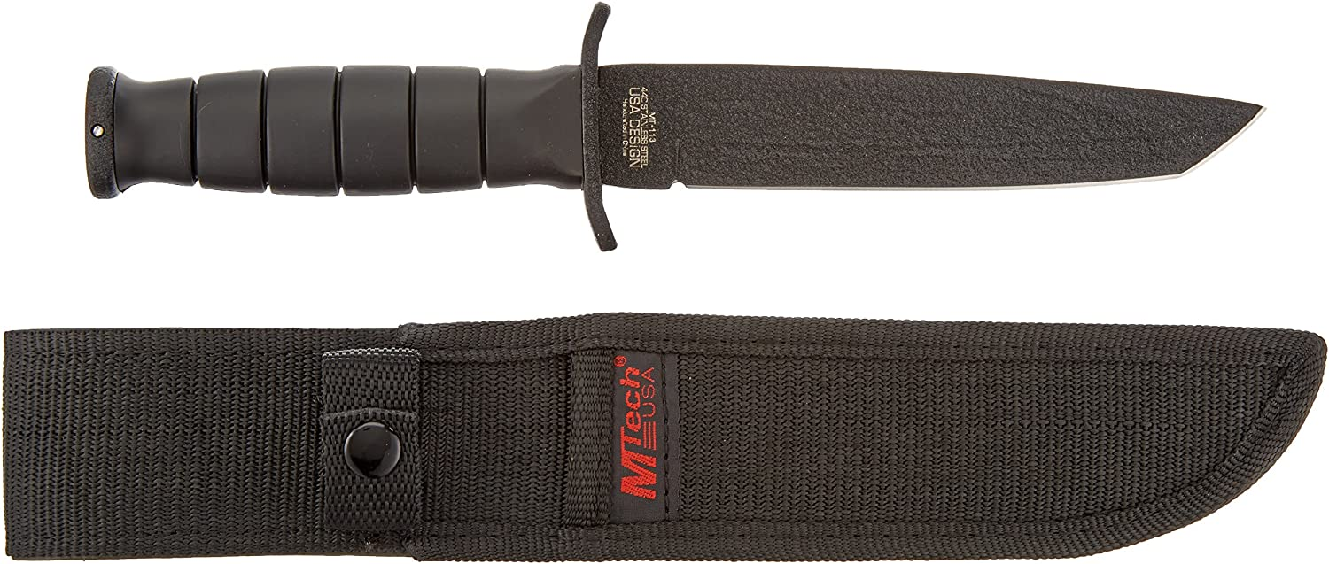 MTech USA MT-113 Rescue Team Fixed Blade Survival Knife, Black S