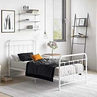 "DHP Brooklyn Metal Iron Bed w/ Headboard and Footboard, Adjustable height (7"" or 11"" clearance for storage), Sturdy Slats Included, No Box Spring Required, Twin Size Mattress, White"